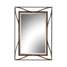 Warm and a bit rustic, this Uttermost Thierry Mirror Bronze is the perfect finishing touch on any transitional home. This gorgeous mirror has inner and outer frames finished in scratched bronze, accented with champagne silver leaf and connected with arched center bars. Hang this wall mirror vertically or horizontally in your bathroom, entryway or living room. Then sit back and enjoy the movement and elegance of this framed mirror as it reflects the beauty around it.