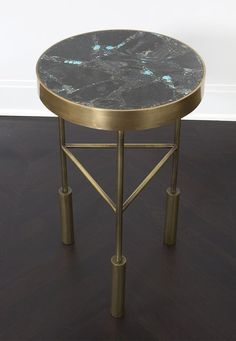 KELLY WEARSTLER   SEDONA SIDE TABLE. Burnished brass frame with inlaid table top made from turquoise and pyrite