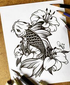 Red Ink Tattoos, Cute Tattoos, Body Art Tattoos, Tattoo Drawings, Hand Tattoos, Girl Tattoos, Sleeve Tattoos, Japanese Koi Fish Tattoo, Koi Fish Drawing