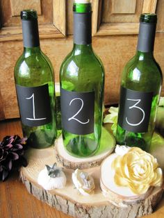 Set Of Six Wine Bottle Table Numbers  Bottle and by thisfineday, $37.00