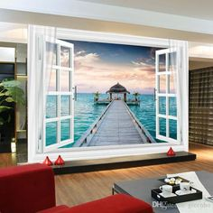 Window 3D Maldives Large Ocean View Wall Stickers Art Mural Decal Wallpaper Living Bedroom Hallway Childrens Rooms Online with $25.31/Square Meter on Greenho's Store | DHgate.com