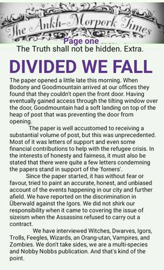 The Ankh-Morpork Times. The Truth shall not be hidden. Extra. DIVIDED WE FALL. page one. by David Green 4 Sept 2015
