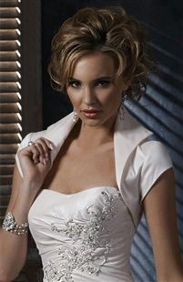 Short Sleeve Satin Bolero With Pointed Lapel.. outerinner.com