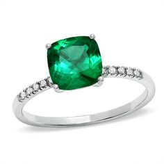 Cushion-Cut Lab-Created Emerald Ring in 10K White Gold with Diamond Accents - Zales