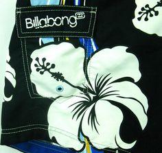 Aloha!  Billabong Hawaiian Boardshorts/Swim Trunks. Men's 32 with big Hibiscus Flowers.