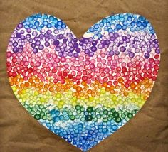 heart painting with q-tips makes me happy