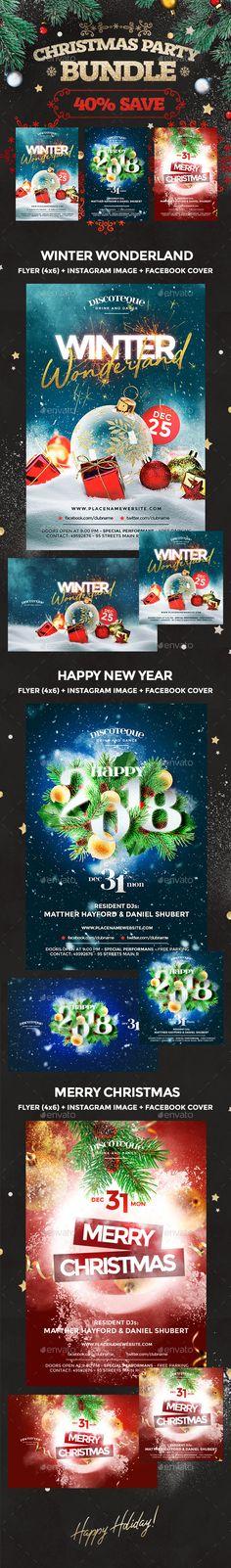 Christmas Flyer Template, Christmas Templates, Christmas Design, Vintage Christmas, Christmas Christmas, Christmas Parties, Party Flyer, Nye Party, Flyer Design Inspiration