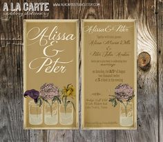 Rustic Wedding Invitation   Mason Jars Vintage by alacartestudio, $15.00