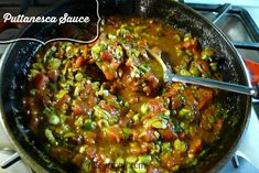 Puttanesca Sauce in a skillet was made to entice the hungry @allourway.com