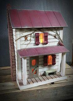 Primitive Farmhouse, Primitive Birdhouse, Lighted Farmhouse, Lighted House, Cardinal ~ Comes w/ light and cord ~ Birdhouse ~ Very unique! Primitive Antiques, Primitive Crafts, Wood Crafts, Primitive Fall, Art Crafts, Cool Dog Houses, Bird Houses, Saltbox Houses, Up House