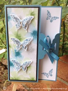 Stampinup scallop Tag topper.  Watercolor DSP butterfly punch