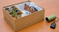 Organização com rolos de papel higienico