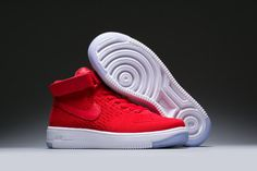 best service 2439e 84680 Nike Air Force 1 AF1 Ultra Flyknit High University Red White Sneakers shoes  818018-009