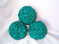 Teal Paper Rose Kissing Ball by FashionLuvBug, $9.99
