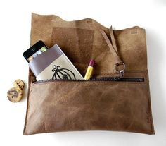 Leather Clutch  RUSTIC  with Raw Edge by TheFigLeaf on Etsy, $34.95