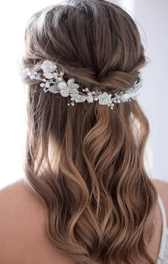 Natural Pearl Bridal Hair Piece Wedding Hair Piece Decorated With Mother of Pearl Adornment Bridal Hair Vine Floral Headpiece Hair Accessory