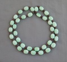 "Vintage Art Deco Era Oval Peking Glass & Metal Disc Bead Necklace 28"""