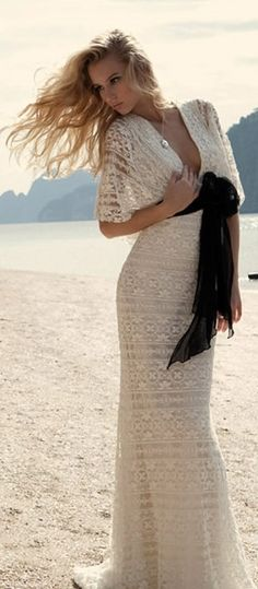 Etxart & Panno Fashion style women apparel clothing outfit maxi dress crochet black white shawl summer
