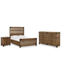 MB MACY'S Metalworks Wood Gate 3-Pc. Bedroom Set, (Queen Bed, Dresser & Nightstand) $3,197.00