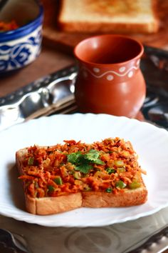 masala bread toast recipe is a tasty iyengar style masala toast recipe which can be served for breakfast, snack or dinner. open sandwich is very tasty Quick Dinner Recipes, Quick Snacks, Veg Recipes, Indian Food Recipes, Recipies, South Indian Breakfast Recipes, Healthy Breakfast Recipes, Healthy Recipes, Vegetarian Breakfast