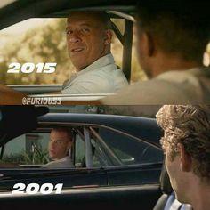 Vin Diesel & Paul Walker in 2001 and the last time to see Walker in 2015