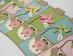 Cheery Stampin Up! owl bookmarks -- having the owls hold pinwheels is such a cute idea!