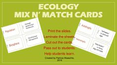 Need help teaching basic vocabulary and scientific concepts?  Want to make your class more interactive?  Need something that gets the kids out of their seats? These Mix N Match cards may be just what you are looking for.One card has the vocabulary word and the matching card has the definition or an example (36 cards total).These cards can be used as flashcards for individual students or matching manipulatives for groups of two to four students.