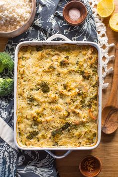 Chicken & Broccoli Cauliflower Rice Casserole - a low carb spin on a classic casserole made with riced cauliflower in place of actual rice and a...