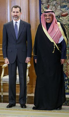 King Felipe VI of Spain receives Vice President of Kuwait Sabah Khaled AlHamad AlSabah at Zarzuela Palace on February 4 2015 in Madrid Spain