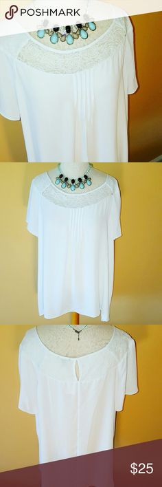 Plus Size White Lace Chiffon Blouse Lovely White Chiffon Blouse with Lace detail at the neckline. I love the little button in the back where the lace opens just a bit. This is a Waist length Tunic shape that you will love with your jeans and boots or even your Jean skirts and flats. It's made of Polyester and Machine washable. Please see my other listings to complete your look. And as always, I'm happy to bundle. Cato Tops Blouses