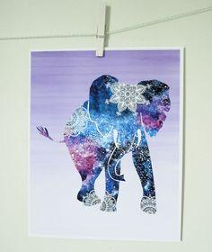 Bohemian Elephant Print /Mandala Elephant Art by LilysNurseryShop
