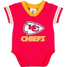 NFL Kansas City Chiefs Dazzle Mesh VNeck Bodysuit 03 Months Red *** Learn more by visiting the image link.