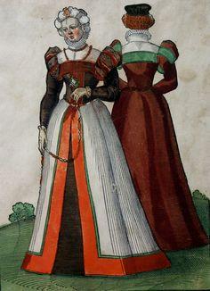 Renaissance Era, Renaissance Clothing, Renaissance Fashion, 16th Century Clothing, 16th Century Fashion, German Women, Period Costumes, Historical Costume, Woodblock Print