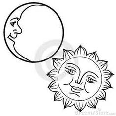 "Buy the royalty-free Stock vector ""Vector illustration of Moon and Sun with faces"" online ✓ All rights included ✓ High resolution vector file for print,. Sun Template, Templates, Star Silhouette, Sun Moon Stars, Sun Designs, Vector Art, Moon Vector, Four Seasons, Laser Engraving"