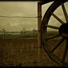 Wagon Wheel and barbed wire!
