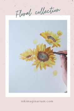 This beautiful sunflower belongs to the last floral collection of Ink Imaginarium, a project from the visual artist Laura Manteca. Inspired by the colors and scents of nature, it will bring the joy of summer and the aromas of spring to your home! Watercolor Sunflower, Sunflower Art, Watercolor Flowers, Watercolor Paintings Abstract, Watercolor And Ink, Watercolor Illustration, Watercolor Portraits, Watercolor Landscape, Easy Nature Paintings