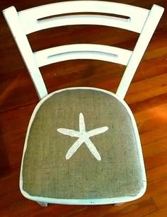 Love burlap. Cover chairs and stencil on a starfish.