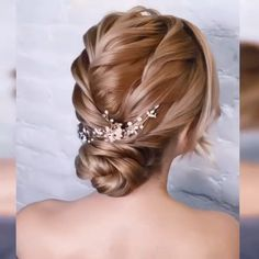 Easy Hairstyles For Medium Hair, Cool Braid Hairstyles, Up Hairstyles, Hairstyle Ideas, Bridal Hairstyle, Updos For Fine Hair, Updo For Long Hair, Straight Hair Updo, Curly Hair