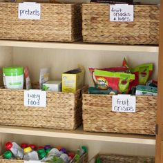 Using hyacinth baskets and labels with semi-general tags, you can create an organized pantry that you don't need to create labels every time you switch up what you store in the bins!