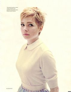 Michelle Williams in Louis Vuitton for Elle. Perfect hair.