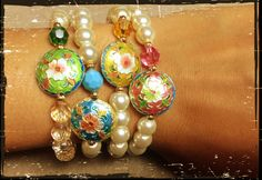 Cloisonne beads and pearls