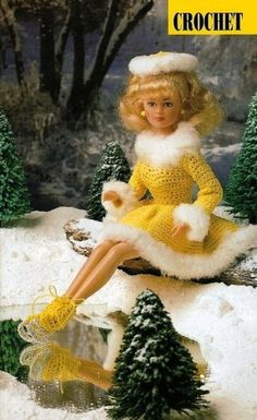 Y009 Crochet Pattern Only Fashion Doll Barbie Ice Skating Outfit   eBay