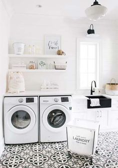 Best 20 Laundry Room Makeovers - Organization and Home Decor Laundry room decor Small laundry room organization Laundry closet ideas Laundry room storage Stackable washer dryer laundry room Small laundry room makeover A Budget Sink Load Clothes Laundry Room Tile, White Laundry Rooms, Laundry Room Organization, Small Laundry, Laundry Room Design, Laundry Decor, Basement Laundry, White Rooms, Laundry Closet