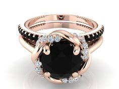 Valentines Gift, Valentine's Day Ring, Wedding ring set, Engagement ring set, Black and white diamonds Bridal ring, Bohemian Wedding ring by BridalRings on Etsy https://www.etsy.com/listing/255589343/valentines-gift-valentines-day-ring
