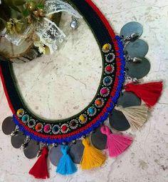Thread Jewellery, Tassel Jewelry, Jewelery, Collar Hippie, Crochet Ornaments, Freundlich, Boho, Handicraft, Diy Tutorial