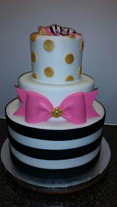 Kate Spade inspired baby shower  cake by Cake Me Away Cakery www.facebook.com/CakeMeAwayCakery