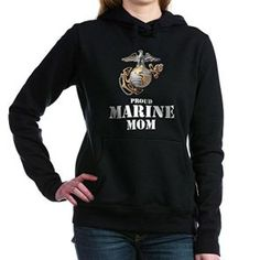 Proud Marine Mom - Pullover Hoodie, also order in basic T-shirt or tank tops.  Great gifts for that special USMC Mom to wear to a USMC Graduation at MCRD San Diego or Paris Island.