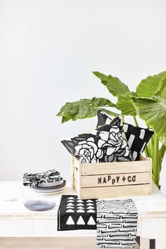 Happy + Co cushions. Love the monochrome of these.
