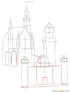 how to draw a castle for beginners