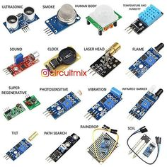 16 pcs Raspberry Pi 3 Sensor Module 16 Kinds of Sensors for Raspberry Pi 2 & 3 Model B for Arduino Electronic Circuit Projects, Electrical Projects, Electronic Engineering, Electronic Kits, Electrical Engineering, Arduino Uno, Arduino Programming, Electronics Components, Electronics Projects